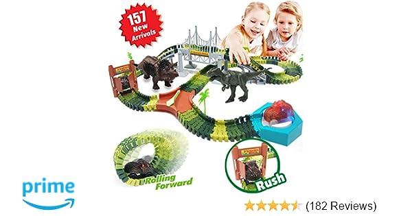 HOMOFY 157PCS Dinosaur Toys Race Car Flexible Track Sets, 1 Turntable, 2  Slopes,3 Dinosaurs, 2 Dinosaurs Car, Playset Toys for 3 4 5 6 7 Years Old