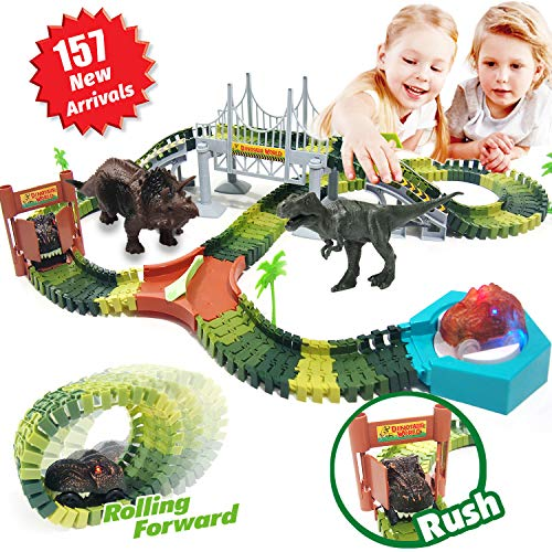 HOMOFY Dinosaur Toys 192 Pcs Race Car Track Sets 3 Dinosaurs,2 Military Vehicles,4 Trees,1 Turntable,2 Slopes,Toys for 3 4 5 6 Year Old Girls and Boys Kids Toddlers