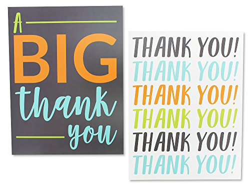 12 Pack Jumbo Thank You Greeting Cards, 6 Assorted Multicolor Designs, Bulk Box Set Variety Assortment, Envelopes Included, 8.5 x 11 Inches Photo #5
