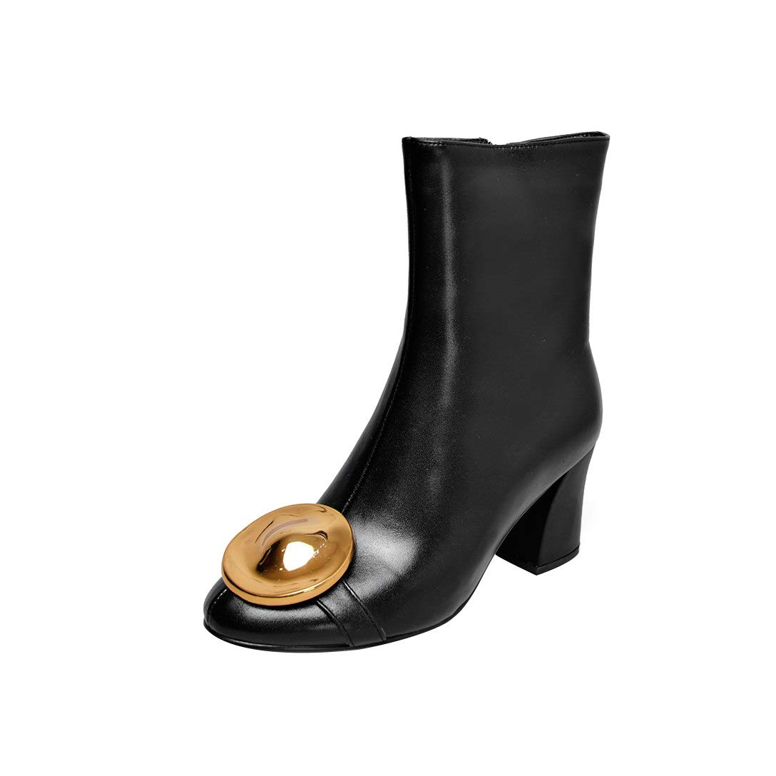 Black MAYPIE Womens Toaslee Leather Zipper Ankle Boots