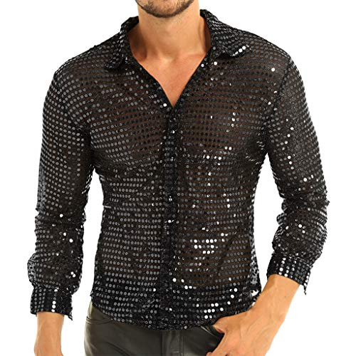 Sequin Shirt Adult Costumes - YiZYiF Men's Dress Shirt Shiny Sequins