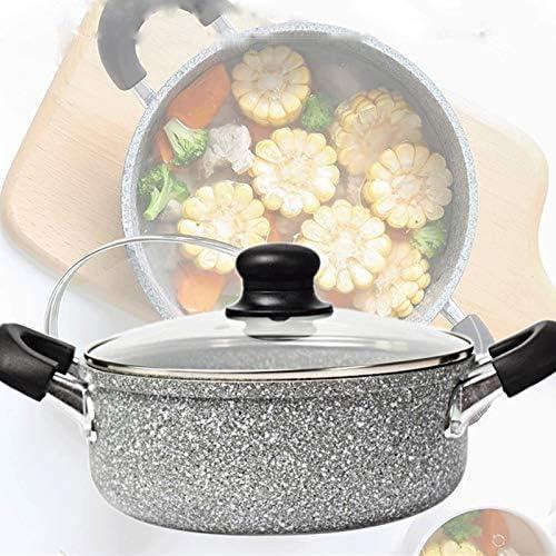 Plats en cocotte avec couvercles Ménage du brûleur latéral Pot, Cuisine Stone Soup Pot, antiadhésif Cuisinière à induction Cuisinière Hot Pot, 20cm Oreille Double.