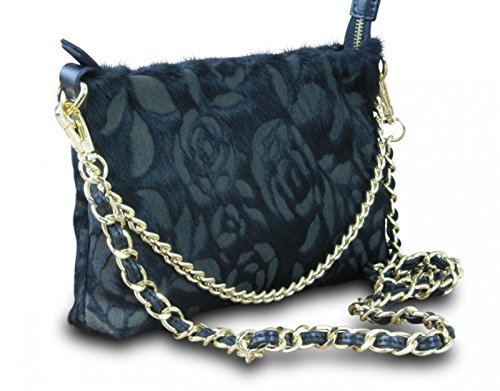 in noir main rose vintage bella de à sac bag body rétro cuir collier en soirée Made cross italy véritable sac dTnadqH