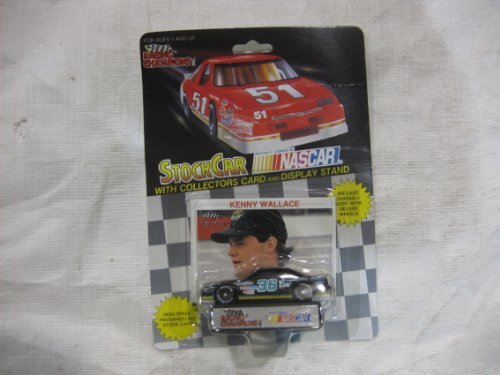 NASCAR #36 Kenny Wallace Cox Treated Lumber Racing Team Stock Car With Driver's Collectors Card And Display Stand. Racing Champions Black Background Red Series 51 Car