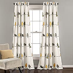 "Lush Decor Rowley Birds Room Darkening Window Curtain Pair, Panel 84"" x 52"", Yellow and Gray"