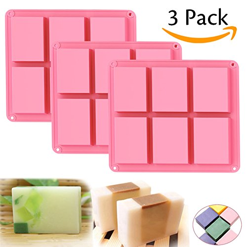 Ozera 6 Cavities Silicone Soap Mold (3 Pack), Baking Mold Cake Pan, Biscuit Chocolate Mold, Ice Cube (Biscuit Soap)