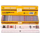 PRIMEPACK School Supplies Measuring Ruler   Bulk Pack of 20 - Clear Transparent Universal 12 Inch Plastic Ruler for Students, Teachers, Architects, Professional - Measuring Inch and Centimeter Length