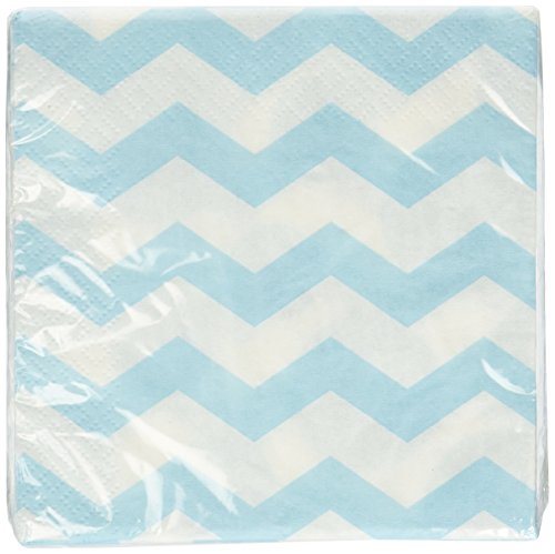 Light Blue Chevrons and Dots Printed Beverage Napkins (16 ct) (Dot Beverage Napkins compare prices)