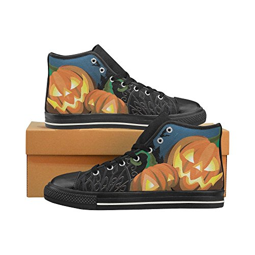 D-Story Custom Happy Halloween Pumpkin Womens Classic High Top Canvas Shoes Fashion Sneaker