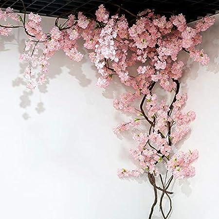 Homcomodar Fleurs artificielles en Soie Fleur de Cerisier Guirlande Vigne Suspendue pour Mariage D/écoration de Jardin Maison 2 Pack