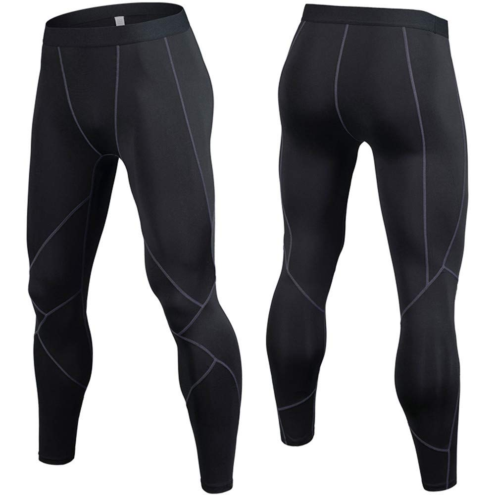 Black Medium Fitness Running Training, Breathable, QuickDrying Tight Pants Dry Cool Sports Tights Pants Running Leggings Yoga Mens Compression Baselayer Pants Leggings (color   Black, Size   M)
