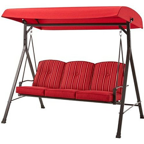 Mainstays Forest Hills 3-Seat Cushion Swing (Red)
