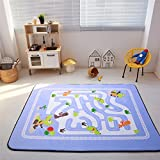 Cusphorn Large Kid Rug For Toy Cars,Safe Nursery Rug Kids Rug With Non-Slip Backing, 59''x 78'' Road Rug Play Mat For Kidrooms,Playroom and Classroom (Style 13)