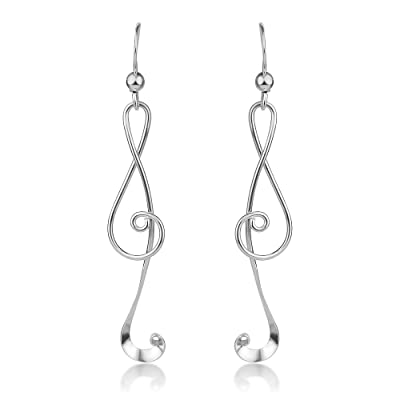 925 Sterling Silver Treble G Clef Musical Note Music Lover Curvy Design Dangle Hook Earrings 2.2'