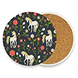 Coasters for Drinks,Floral Pattern Unicorn Ceramic Round Cork Trivet Heat Resistant Hot Pads Table Cup Mat Coaster-Set of 2 Pieces