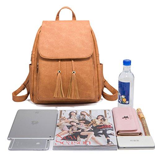 Fashion Shoulder Bag Rucksack PU Leather Women Girls Ladies Backpack Travel bag (Brown) by PlasMaller (Image #6)