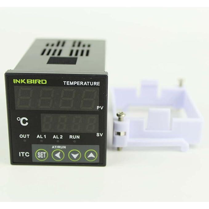 Termostato digital de Inkbird ITC-100VH, termostato de control de temperatura, de doble pantalla, con sensor termopar tipo k, útil para calefacción y ...