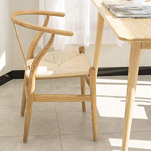 Wishbone Chair Y Chair Solid Wood Dining Chairs Rattan Armchair Natural-Ash Wood (Natural Wood + Chestnut Shell Color Painting) ()