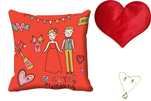 meSleep happy wedding Valentine Digital Printed Cushion (With Filler) free and Pendant Set