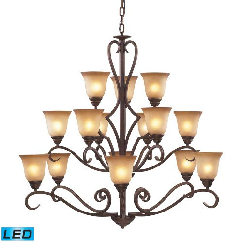 ELK 9330/6+6+3-LED, Lawrenceville Large Glass 3 Tier Chandelier Lighting, 15 Light LED, Mocha