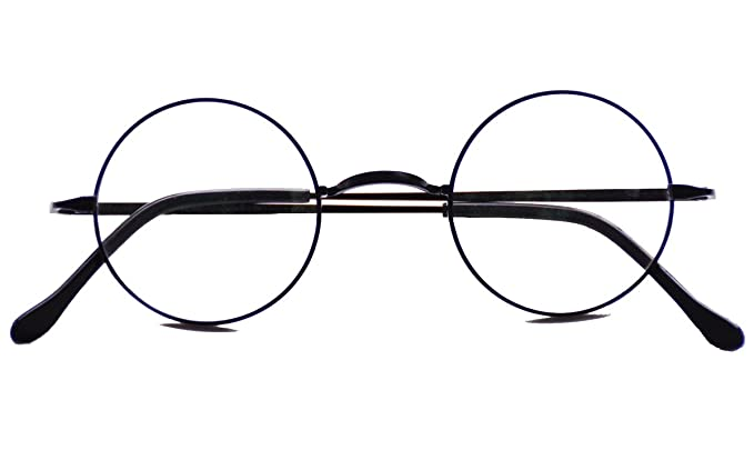 2f5b00211c Agstum Pure Titanium Retro Round Prescription Eyeglasses Frame (Without  Nose Pads) (Black