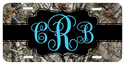 Camo Turquoise Personalized Monogrammed License Plate Auto Car Tag