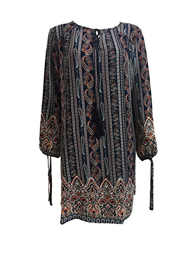 OEUVRE Women's Chiffon Printed Casual Dress with Straps (X-Large, Blue-3)