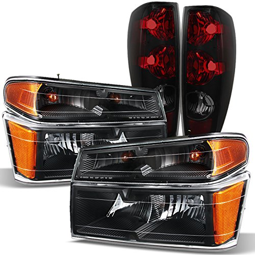 2004-2012 Chevy Colorado | GMC Canyon Black Headlights Lamps + Black Smoke Tail Lights Assembly Set
