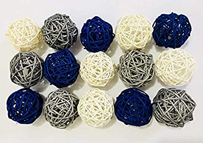 Pack of 15 Mixed 3 Colors White Royal Blue Gray Rattan wicker balls Vase Fillers for Wedding Party Christmas decoration, 2inch