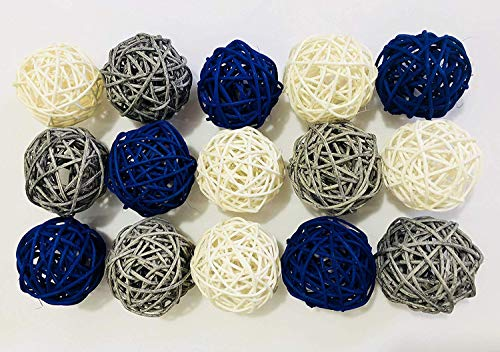 lue Gray White Color Wicker Rattan Balls - Decorative Orbs Natural Spheres Craft DIY, Wedding Decoration, Christmas Tree, House Ornaments Vase Filler - 3 Colors Assorted, 2 inch/5cm ()
