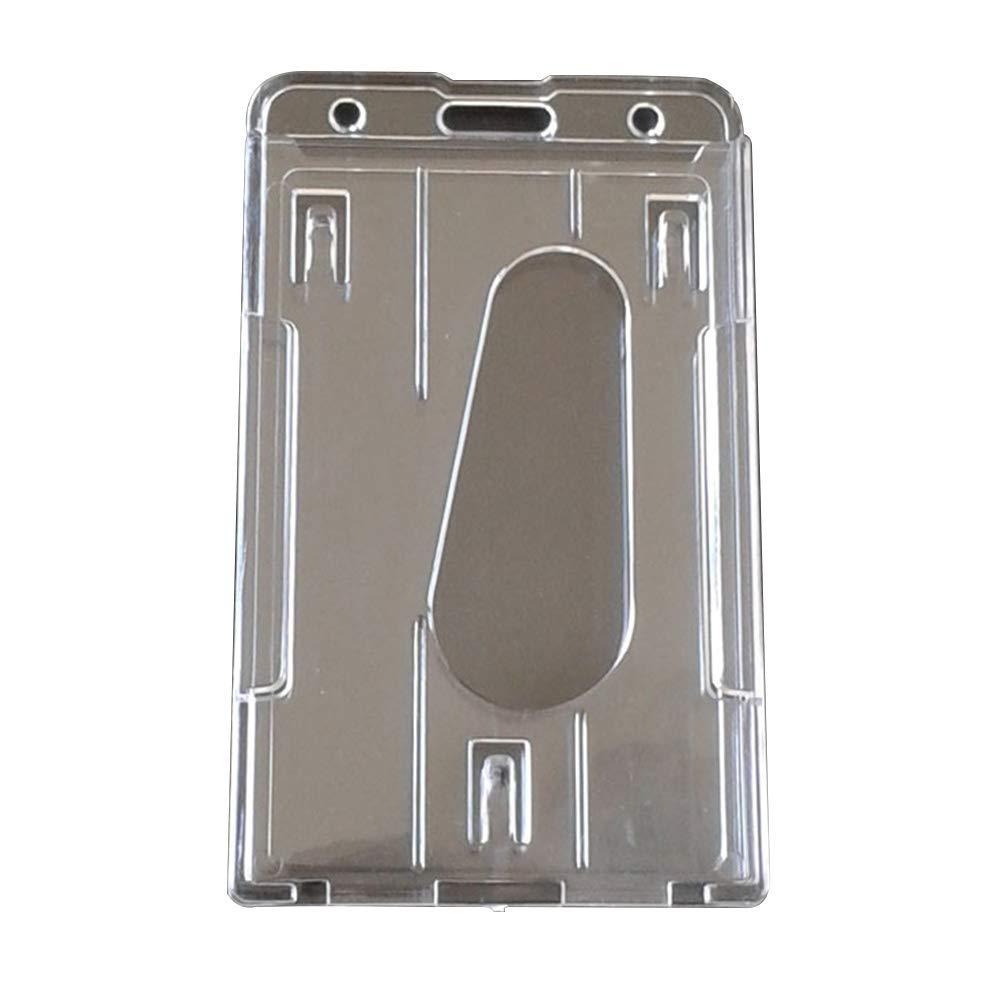 5 x trasparente verticale ID porta carte di credito double ID card slot portatile impermeabile in plastica trasparente Bus metro di Business porta carte di credito 60x101mm SUPEWOLD