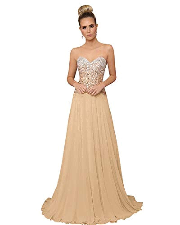 Champagne SDRESS Women's Sequins Strapless Evening Gowns Sweetheart Neckline Long Prom Formal Dress