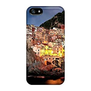 Tpu Case Cover For Iphone 5/5s Strong Protect Case - Magnificent Italian Seaside Town At Night Design