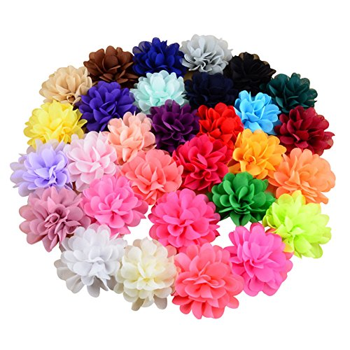 SuZhi 30 Pieces Different Colors Handmade Chiffon Flowers for DIY Headbands Girl Flower Accessories Baby Flower Headband (Multi)