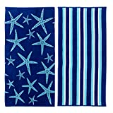 Great Bay Home 2 Pack 100% Cotton Jacquard Plush Nautical Beach Towel. 30' x 60' Maui Collection (Star Fish & Stripe)