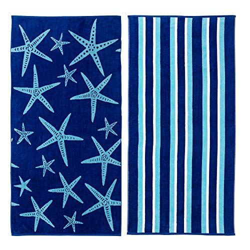 Great Bay Home 2 Pack 100% Cotton Jacquard Plush Nautical Beach Towel. 30