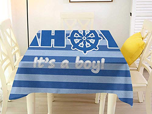 L'sWOW Retro Square Tablecloth Tablecloth Ahoy Its a Boy Baby Shower New Birth Announcement Marine Wheel Striped Backdrop Pale Blue Blue White Waterproof 50 x 50 -