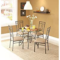 Dining Set Metal Chairs Kitchen Table Furniture Modern Wood 4 Breakfast 5 Piece Stylish Apartment Home Side, Table size: 42L x 42W x 30H, Chair size: 18.5L x 18.5W x 39H