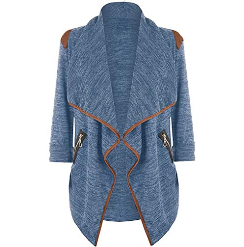 Knitted Casual Cardigan Autumn Tops Size Women Womens Coat Sleeve Irregular Blue Outwear Plus Jacket Long TUDUZ Winter xnXqXOYWT