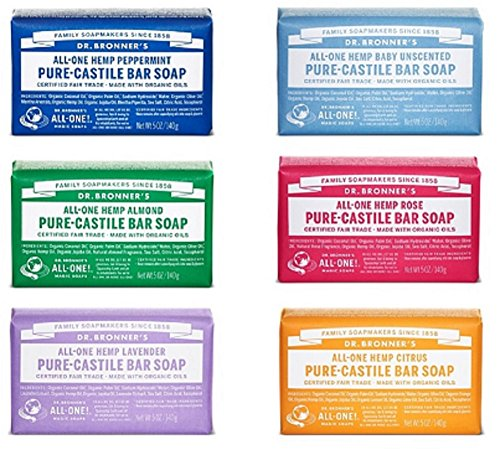 Dr. Bronner's Pure-Castile Bar Soap Variety Gift Pack- 5oz, 6 Pack 1 VARIETY PACK. Try Dr. Bronner's all-time favorite Pure-Castile Soap Variety. Scents include Rose, Citrus, Almond, Baby Unscented, Peppermint and Lavender. GENTLE SOAP. This moisturizing bar soap offers organic and vegan ingredients for a rich, emollient lather. It is ideal for washing your body or face. With no synthetic detergents or preservatives, you can nourish your skin with every wash MULTI-USE. This multi-use bar soap can be used on its own as a traditional body or face scrub, or you can dilute it in various recipes for anything from a pest spray to laundry wash. This gentle, yet powerful soap is the ultimate multi-use cleaner