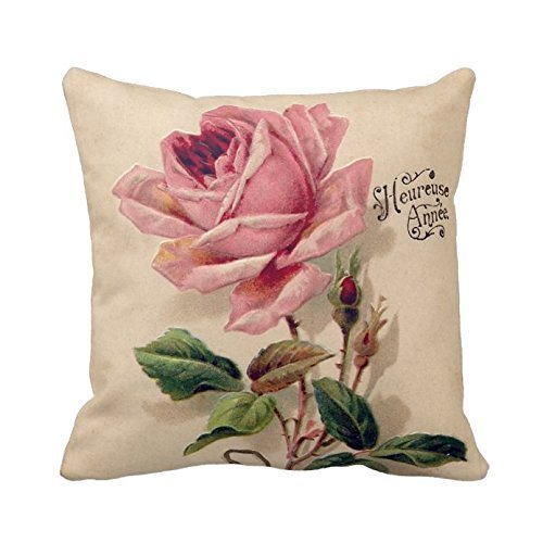 Pink Vintage Rose Throw Pillow Case Personalized Home Decor Cushion Cover Pillowcase 18x18 Twin Sides
