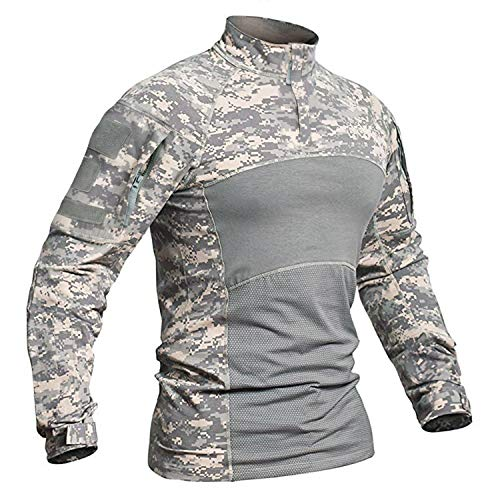 TACVASEN Shirt Men Assault Army Camouflage Long Sleeve Shirt Outdoor Top ACU