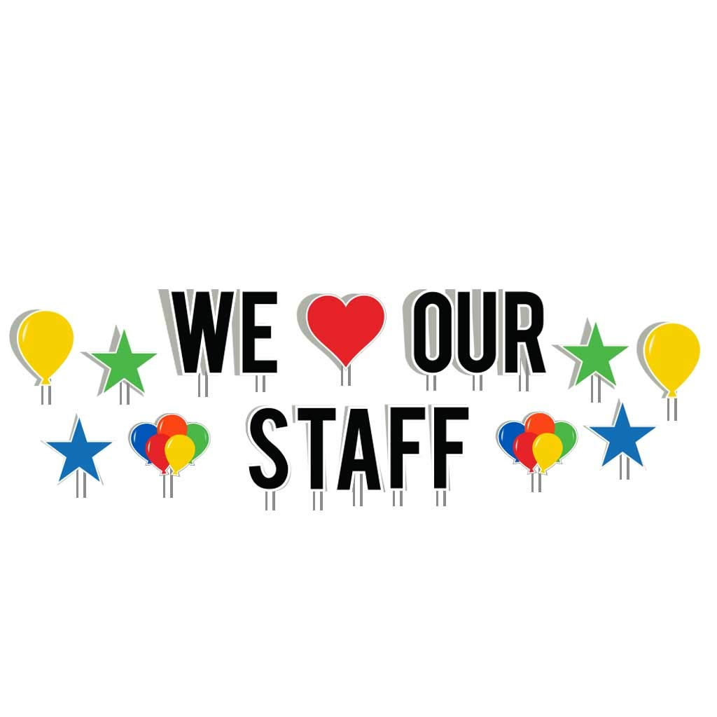 VictoryStore Yard Sign Outdoor Lawn Decorations: We Love Our Staff Yard Decorations