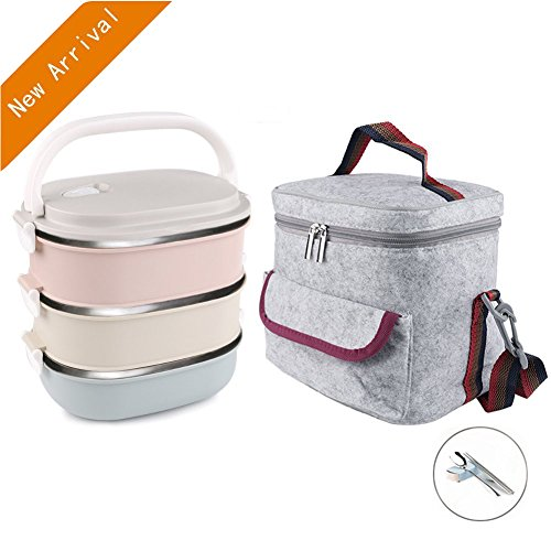 SEY6 3-Tier Stainless Steel Square Bento Lunch Box Set Lock Lunch Bag Spoon Fork and Chopsticks Set Thermos Lunch Box for A Office Snack Food Storage Boxes 2.8L (Multicoloured)