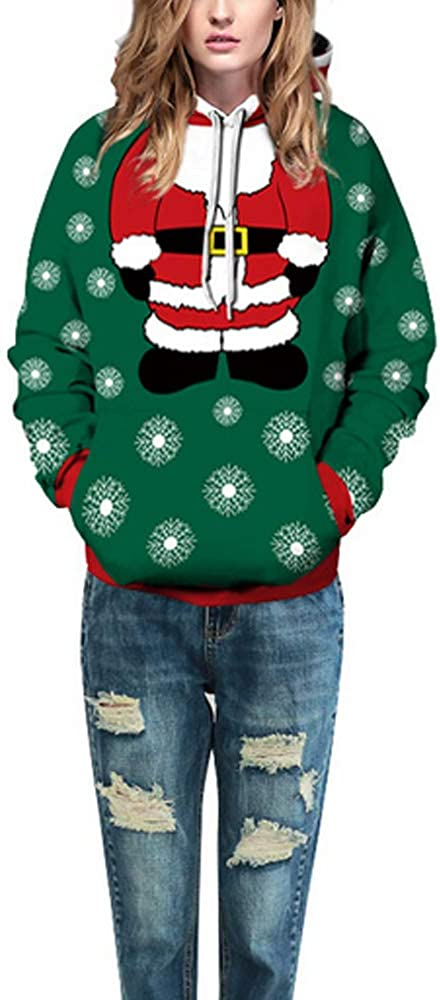 SMILANE Unisex Hooded Ugly Christmas Green Santa Claus Sweater Hoodie 3D Print Pullover Plus Size