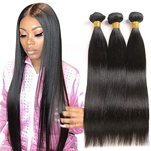 (JiSheng Brazilian Virgin Hair 3 Bundle 100% Unprocessed Straight Human Hair Weave Natural Color 12 14 16inch )