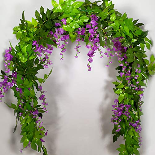 4 Pcs 6.9 Feet/Piece Artificial Wisteria Flowers Fake Flower Ivy Plants Vine Hanging Artificial Ratta Silk Flowers String for Outdoor Wedding Ceremony Arch Party Home Garden Floral Decor(Purple) from Rajahubri