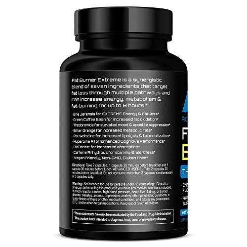 NEW !! AAN Fat Burner EXTREME - Weight Loss / Stubborn Belly Fat, Energy, Vegan Friendly Thermogenic Caps - Green Coffee Bean, Yohimbe, Caffeine, B Vitamins