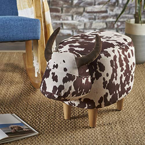 Bertha Milk Cow Patterned New Velvet Ottoman (Brown Milk Cow)