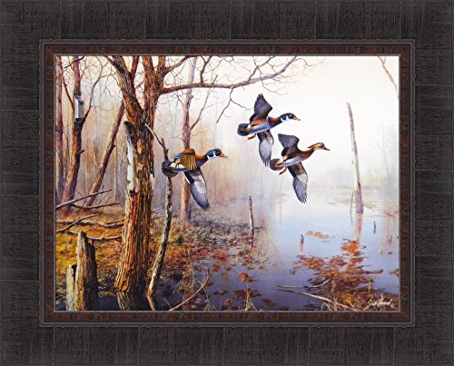 Backwater by Jim Hansel 17x21 Wood Ducks Framed Art Print Wall Décor (Hunting Framed)
